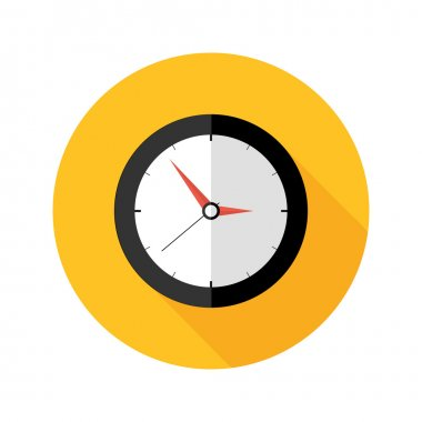 Illustration of Deadline Clock Flat Circle Icon stock vector