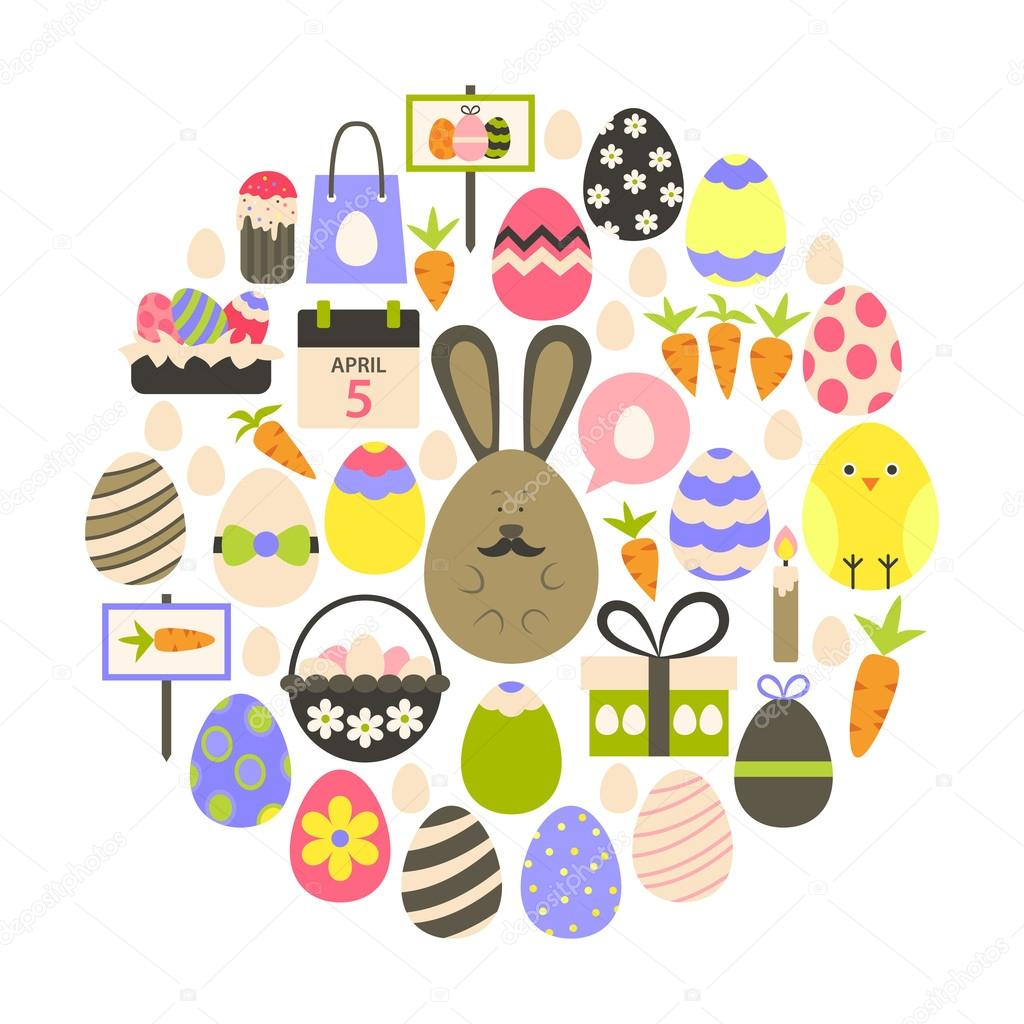 Easter holiday Flat Icons Set over white