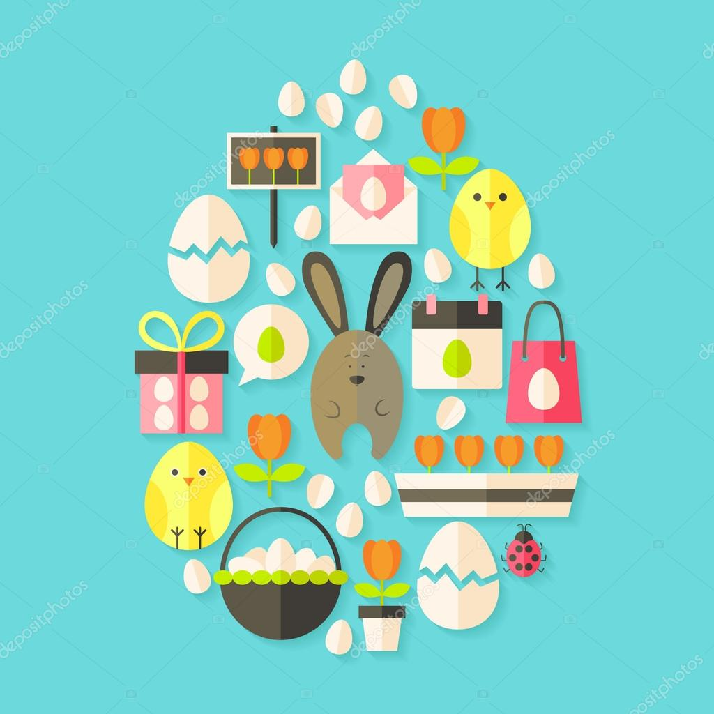 Easter holiday Flat Icons Set Egg shaped with shadow over blue