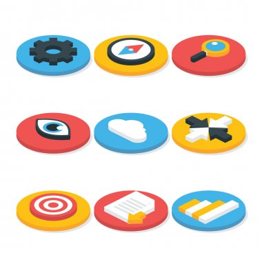 Flat Website Isometric Icons Set Circular Shaped