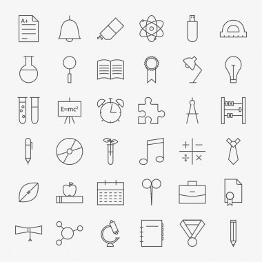 Line School and Education Icons Big Set