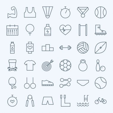 Line Sport and Fitness Icons Set