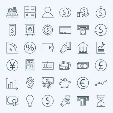Line Finance Money and Banking Icons Set