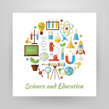 Flat Style Circle Vector Set of Science and Education Objects ov