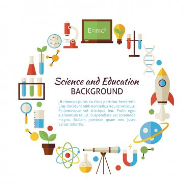 Flat Style Vector Circle Template Collection of Science and Educ