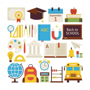 Flat Style Vector Collection of Back to School and Education Obj