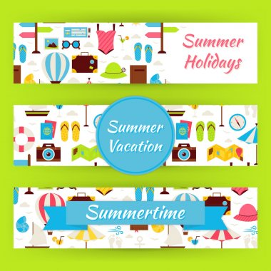 Summer Vacation and Summer Time Vector Template Banners Set in M