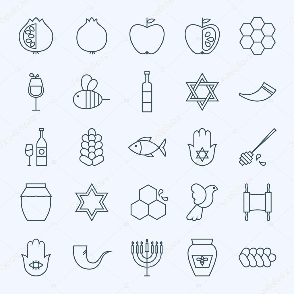 Line Holiday Rosh Hashanah Icons Set