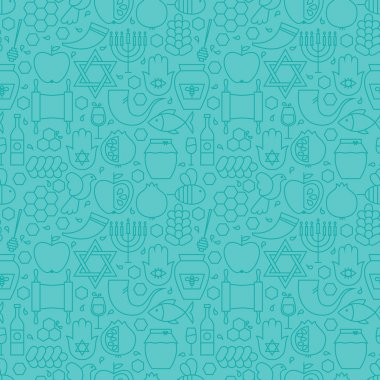 Thin Line Jewish New Year Holiday Seamless Blue Pattern