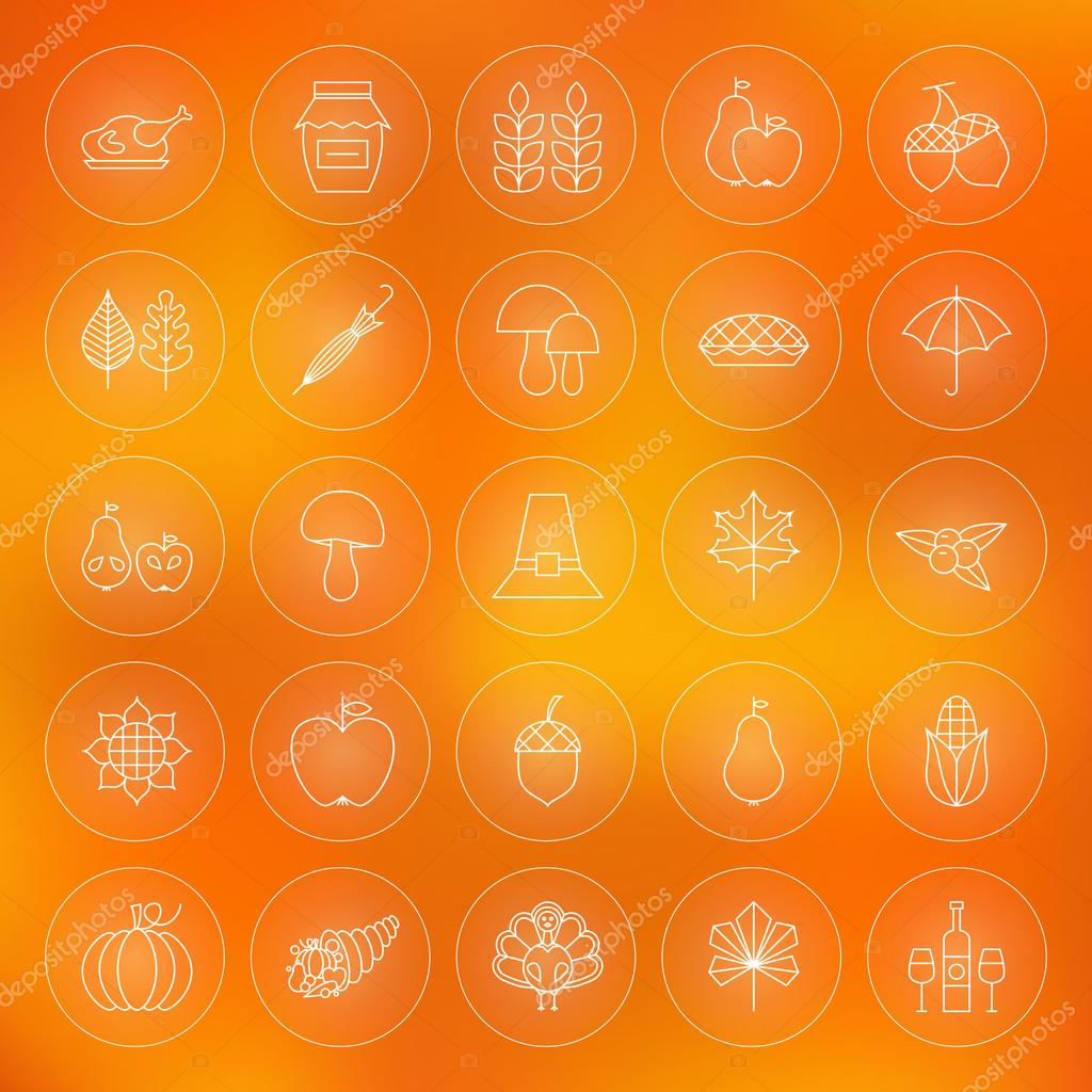 Thin Outline Thanksgiving Dinner Circle Line Icons Set