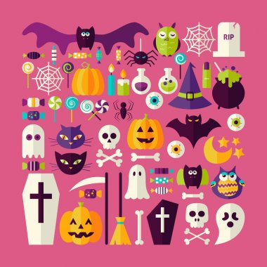 Flat Style Vector Big Set of Halloween Holiday Objects and Eleme