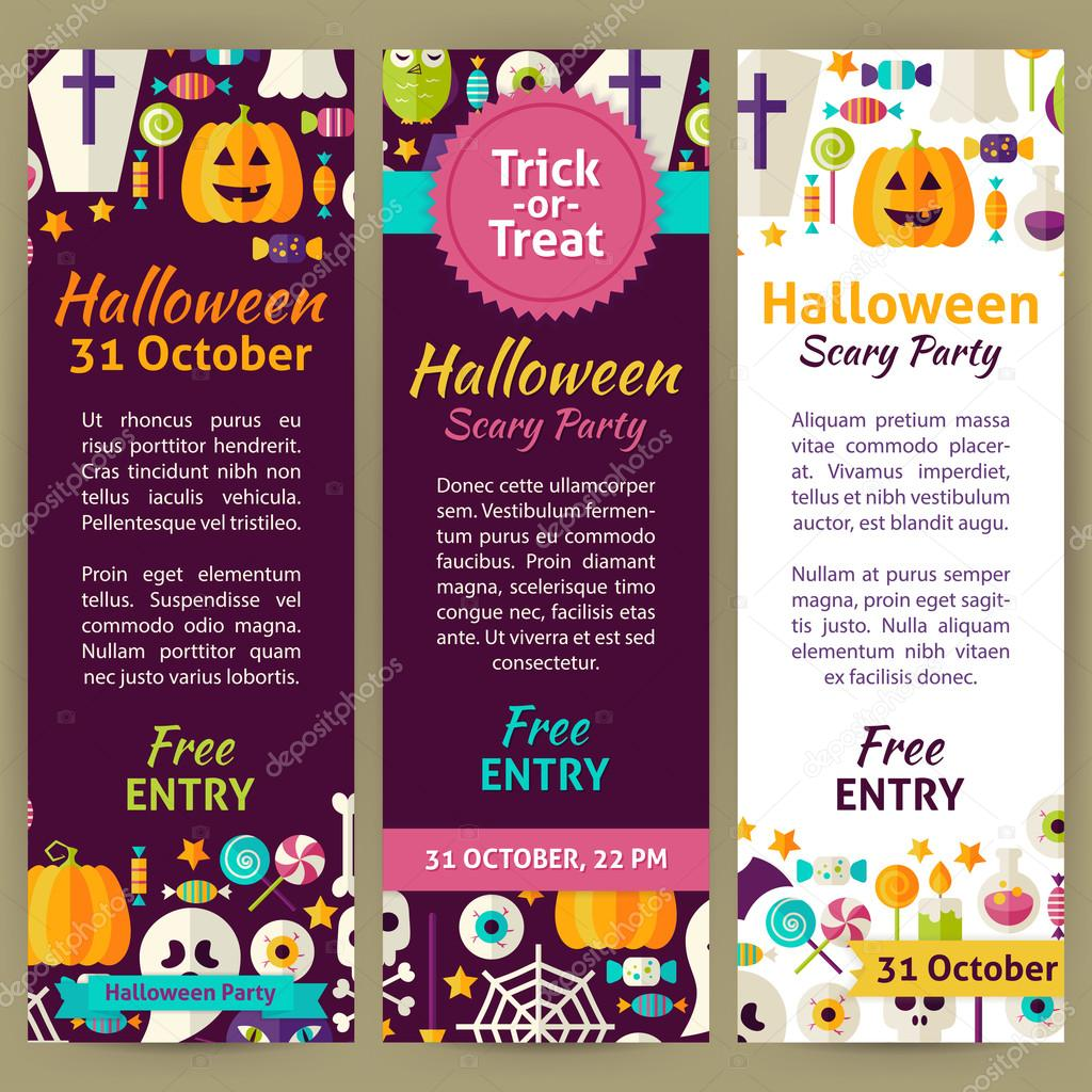 Halloween Holiday Vector Party Invitation Template Flyer Set ...