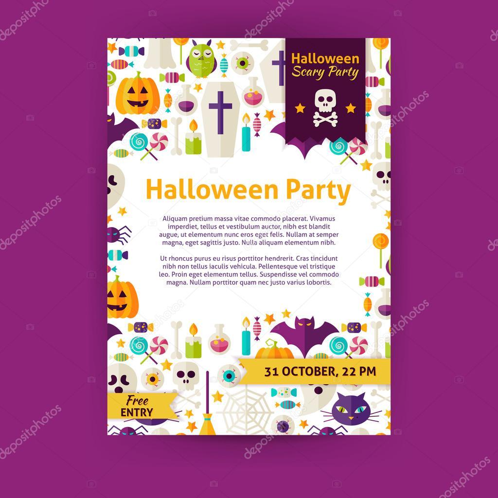 Halloween Party Urlaub Vektor Einladung Vorlage Flyer U2014 Stockvektor  #85902428