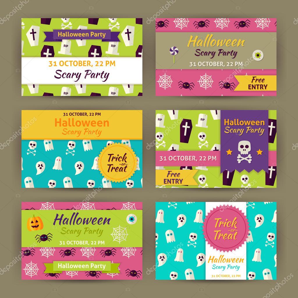 Halloween Vector Party Invitation Template Flat Set — Stock Vector ...
