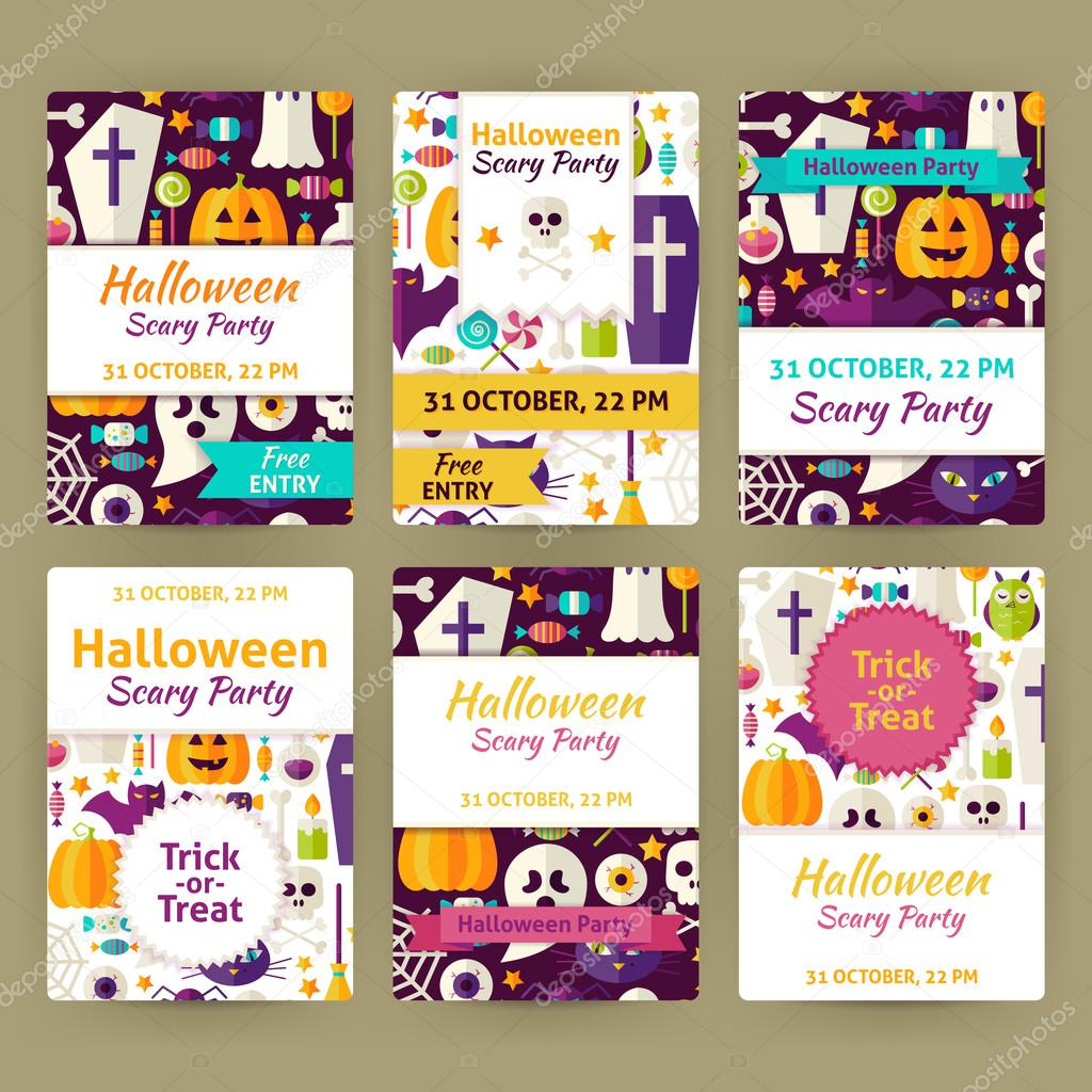 halloween flat vector party invitation template set stock vector
