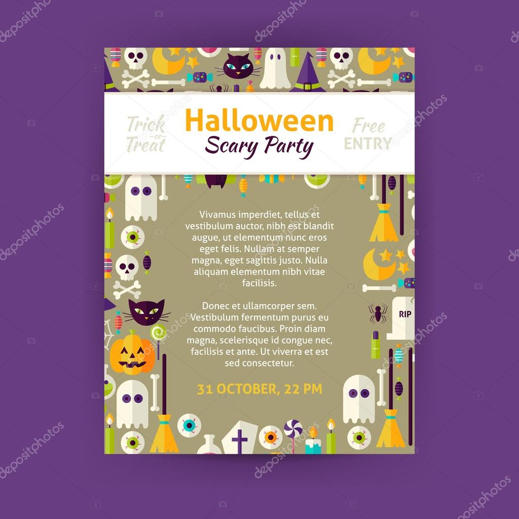 trick or treat halloween party invitation template flyer flat design vector illustration of brand identity for halloween promotion