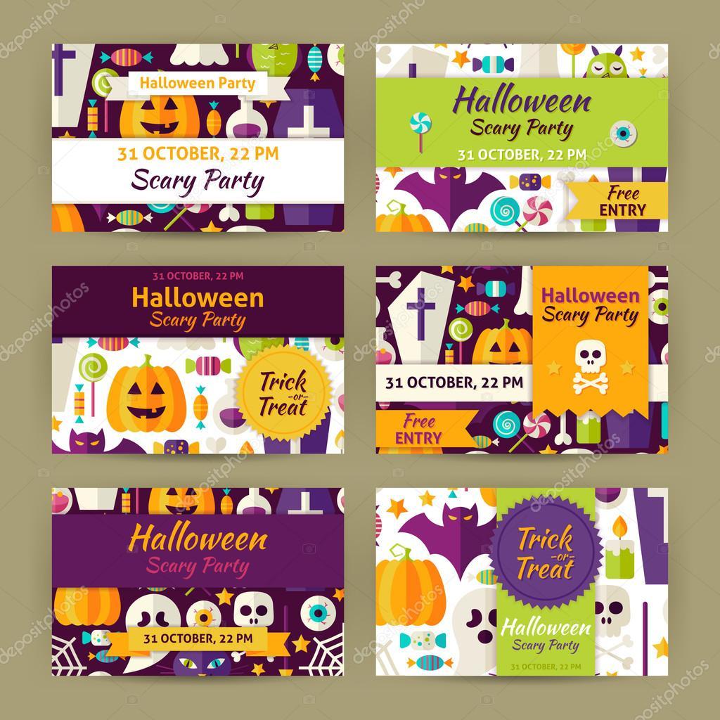 Vector Halloween Party Template Invitation Modern Flat Set — Stock ...