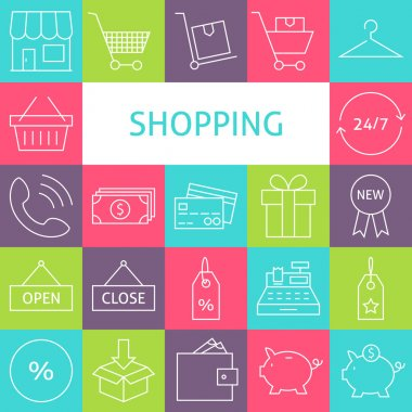Vector Line Art Modern Shopping and Retail Icons Set