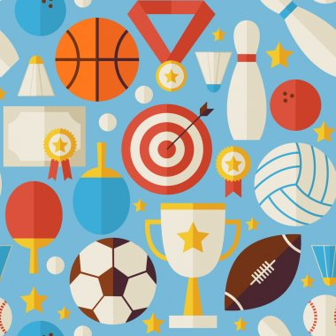 Sport Competition Recreation Vector Flat Blue Seamless Pattern