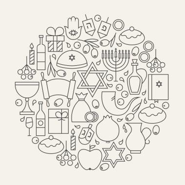 Happy Hanukkah Holiday Line Icons Set Circular Shaped
