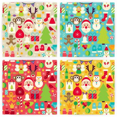 Four Vector Flat Happy New Year Patterns Set