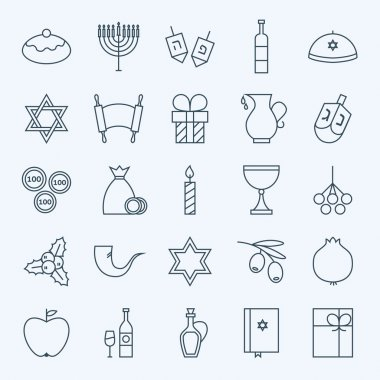 Line Holiday Happy Hanukkah Icons Set