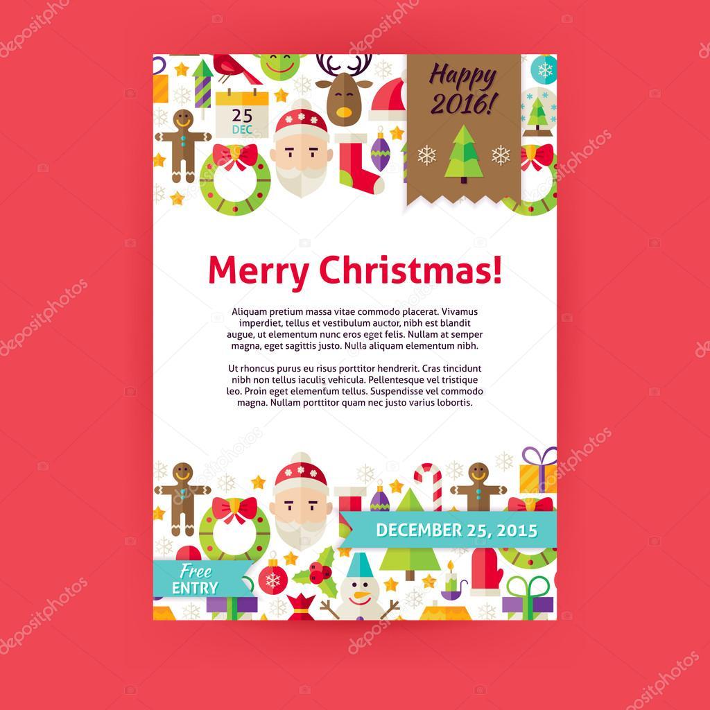 Feliz Navidad vacaciones Vector invitación plantilla Flyer — Archivo ...