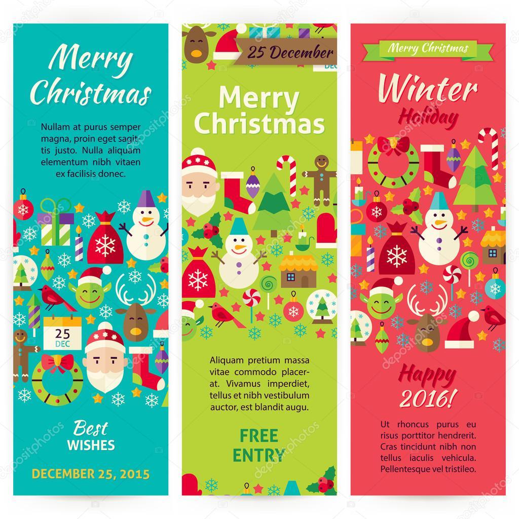 Set de invierno Navidad vacaciones Vector invitación plantilla Flyer ...