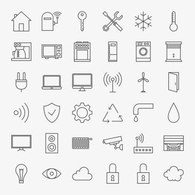 Line Smart Home Icons Big Set