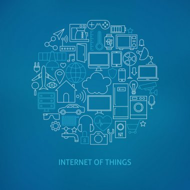 Thin Line Internet of Things Icons Set Circle Concept