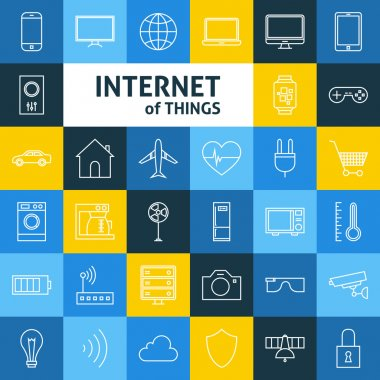 Vector Line Art Internet of Things Icons Set