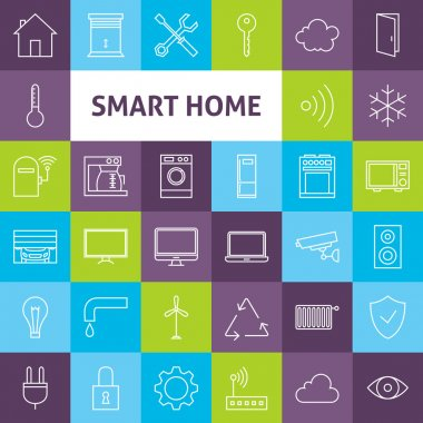 Vector Line Art Smart Home Icons Set
