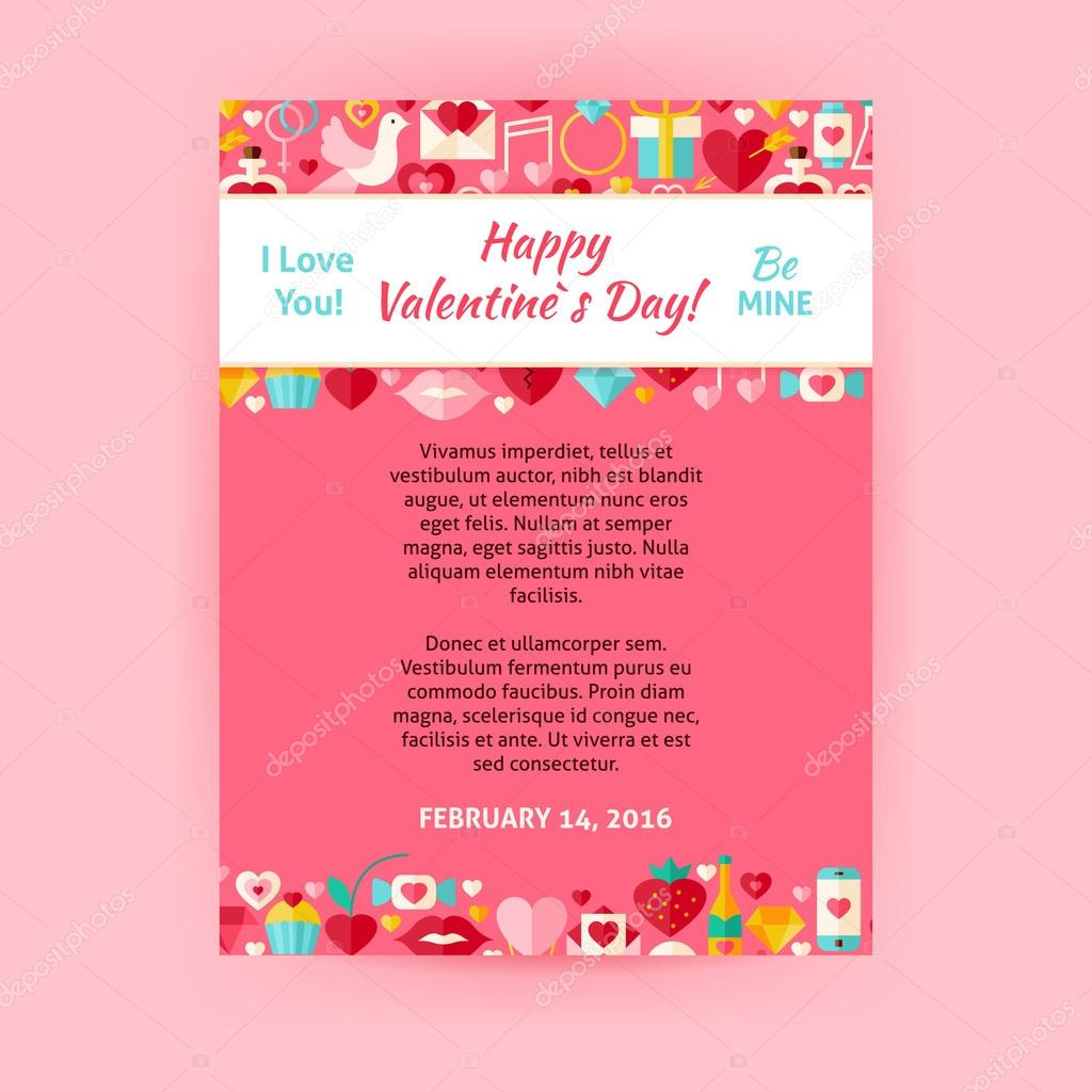 Happy valentine day invitation vector template flyer vetor de happy valentine day invitation template flyer flat design vector illustration of brand identity for wedding promotion love holiday colorful pattern for stopboris Image collections