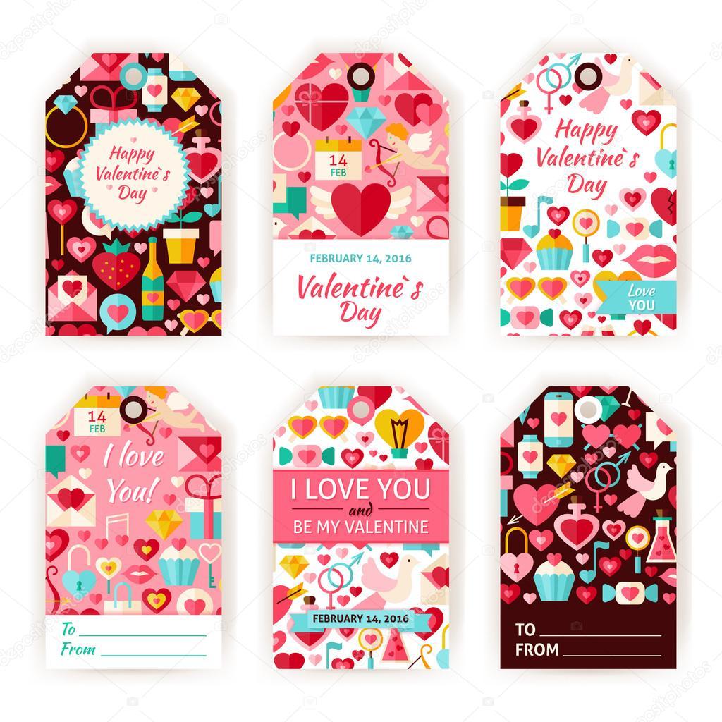 Regalo de San Valentín feliz día Vector etiqueta conjunto plano ...