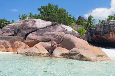 Basalt educations on sea coast. Baie Lazare, Mahe, Seychelles