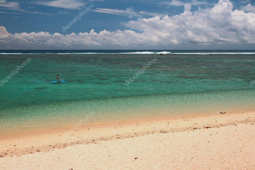 Beach on ocean coast. Lagoon Hermitage, Reunion