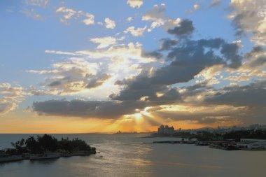 Sunset in seaside city. Santo Domingo, Dominican Republic