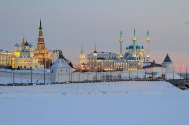Kazan Kremlin in winter evening