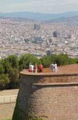 Pohled z pevnosti Montjuich na město. Barcelona, Španělsko