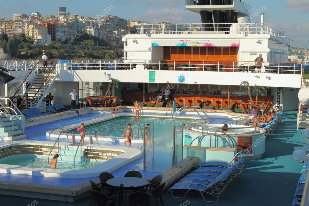 Deck with pools on cruise liner