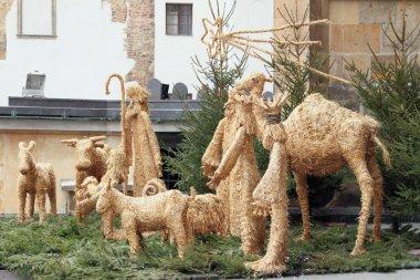 Den composition from straw figures. Prague, Czech Republic