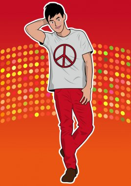 Fashion man model and red background