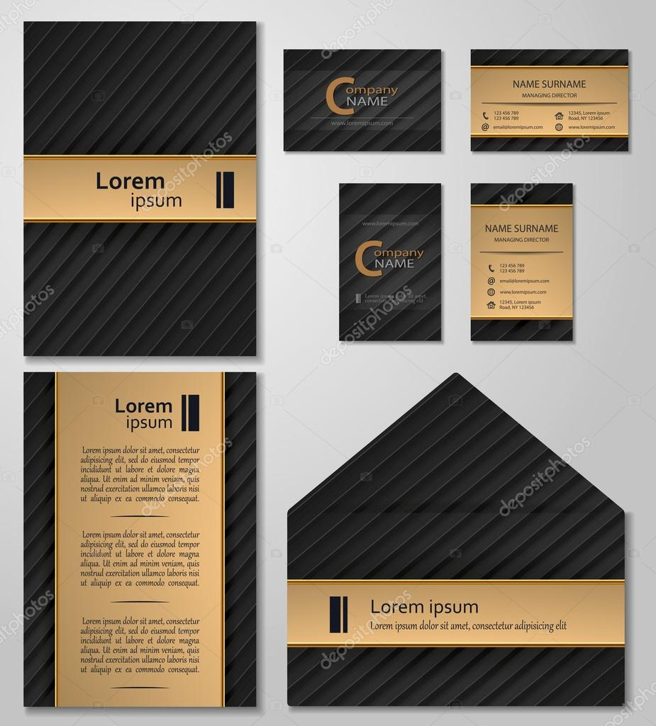 Business card template vcard set black and gold style stock vector business card template vcard set black and gold style stock vector colourmoves