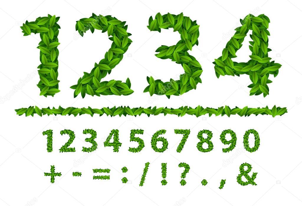 Número de alfabeto temporada hojas primavera — Archivo Imágenes ...