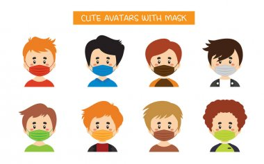 Set Of Cute Avatars With Mask icon