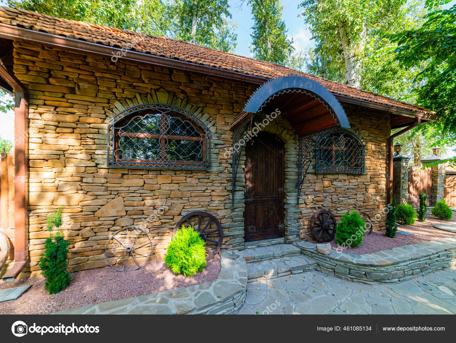 Small Stone House Building Tile Roof Stock Photo Image By Rostovdriver 461085134