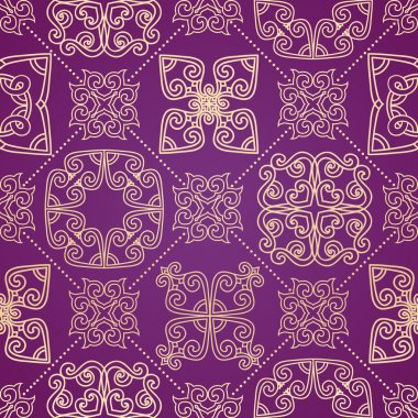 Gold, purple seamless ornament in east style.