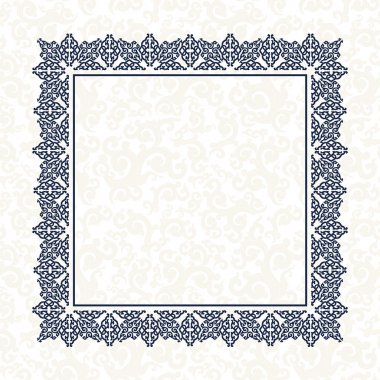 The blue square frame. White background.