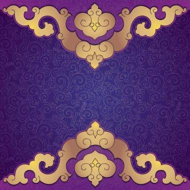 Oriental, folk ornament. Purple background.