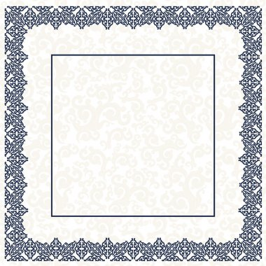 The blue square frame. White background.